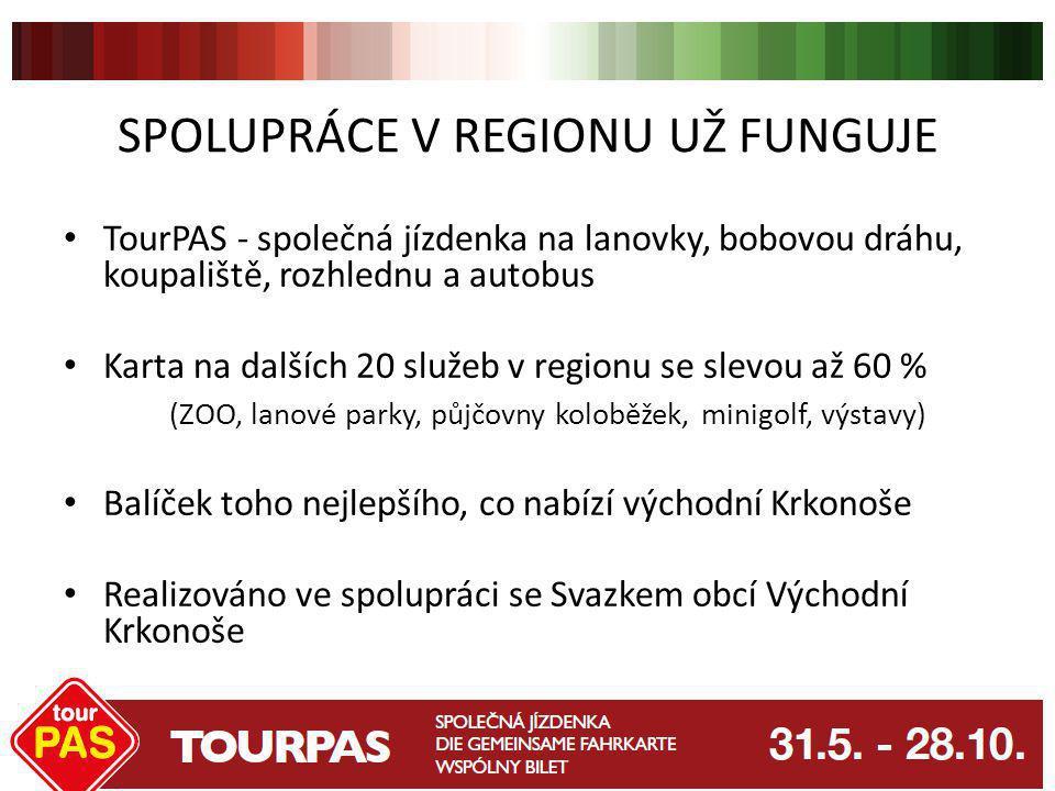 SPOLUPRÁCE V REGIONU UŽ FUNGUJE TourPAS - společná jízdenka na lanovky, bobovou dráhu, koupaliště, rozhlednu a autobus Karta na dalších 20 služeb v re