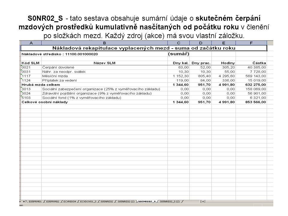 S0NR02_S - tato sestava obsahuje sumární údaje o skutečném čerpání mzdových prostředků kumulativně nasčítaných od počátku roku v členění po složkách mezd.
