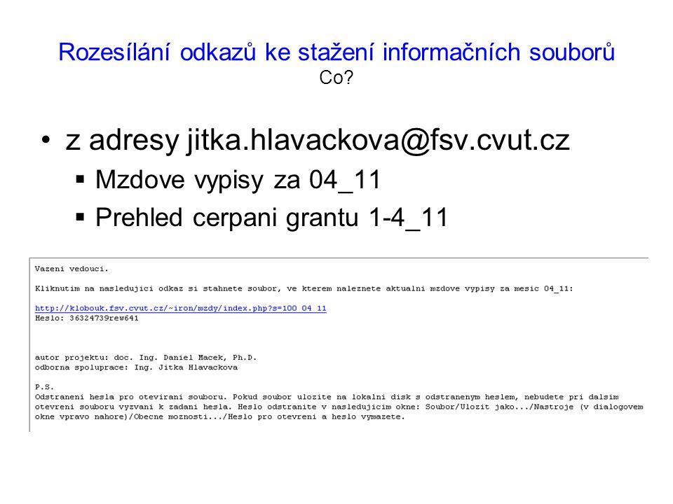 Rozesílání odkazů ke stažení informačních souborů Co.