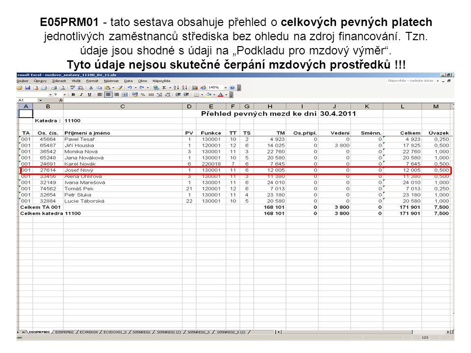 E05PRM01 - tato sestava obsahuje přehled o celkových pevných platech jednotlivých zaměstnanců střediska bez ohledu na zdroj financování.