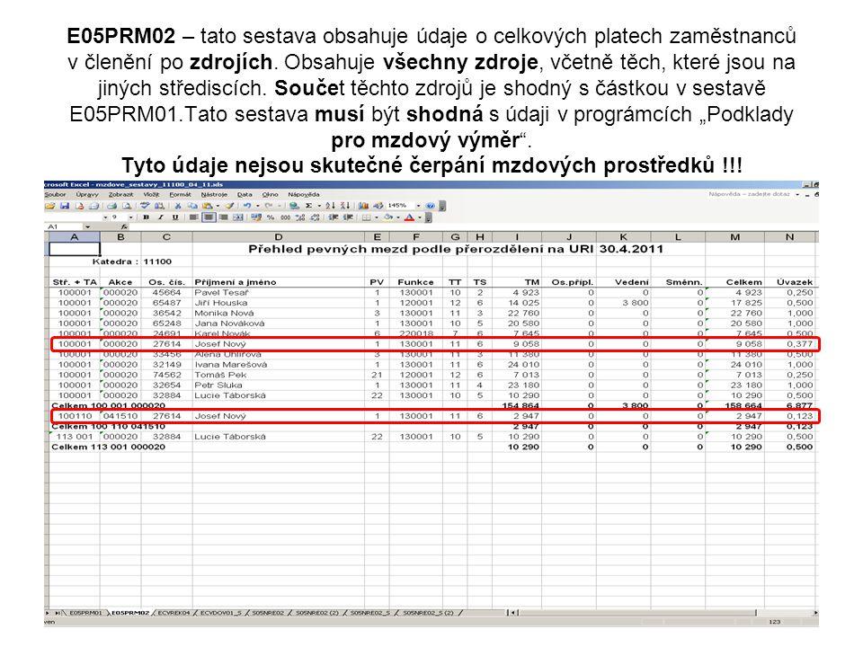 E05PRM02 – tato sestava obsahuje údaje o celkových platech zaměstnanců v členění po zdrojích.