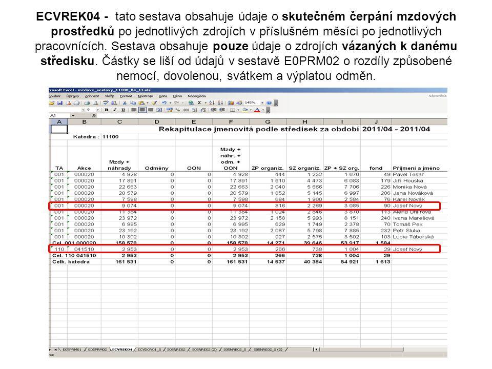 ECVREK04 - tato sestava obsahuje údaje o skutečném čerpání mzdových prostředků po jednotlivých zdrojích v příslušném měsíci po jednotlivých pracovnících.