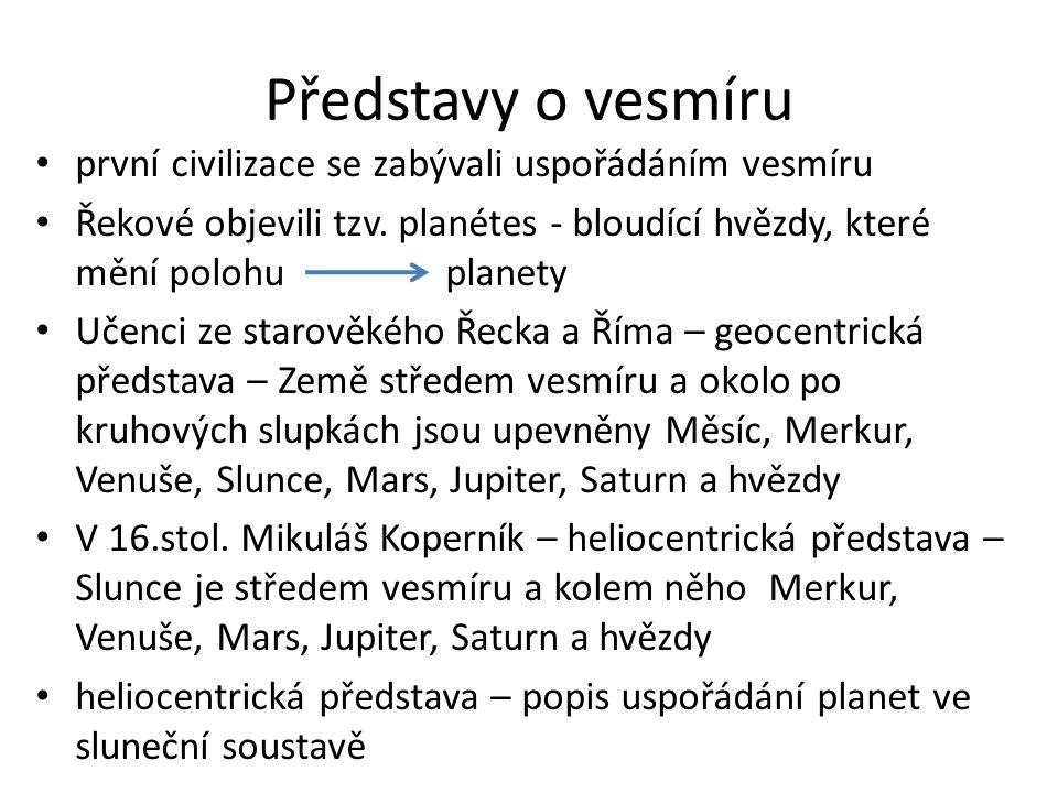 Představy o vesmíru první civilizace se zabývali uspořádáním vesmíru Řekové objevili tzv. planétes - bloudící hvězdy, které mění polohu planety Učenci