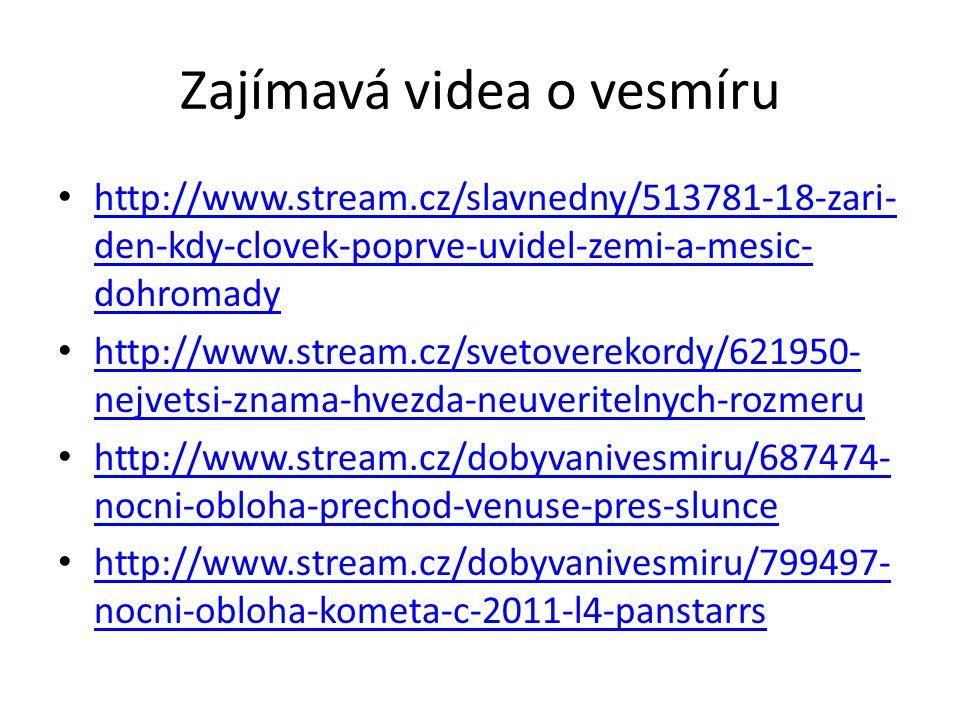 Zajímavá videa o vesmíru http://www.stream.cz/slavnedny/513781-18-zari- den-kdy-clovek-poprve-uvidel-zemi-a-mesic- dohromady http://www.stream.cz/slav