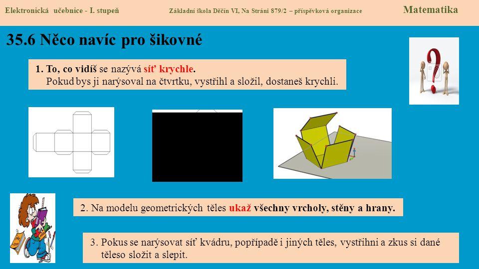 35.6 Něco navíc pro šikovné Elektronická učebnice - I. stupeň Základní škola Děčín VI, Na Stráni 879/2 – příspěvková organizace Matematika 1. To, co v
