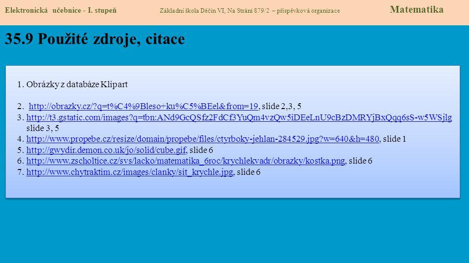 35.9 Použité zdroje, citace 1. Obrázky z databáze Klipart 2. http://obrazky.cz/?q=t%C4%9Bleso+ku%C5%BEel&from=19, slide 2,3, 5http://obrazky.cz/?q=t%C