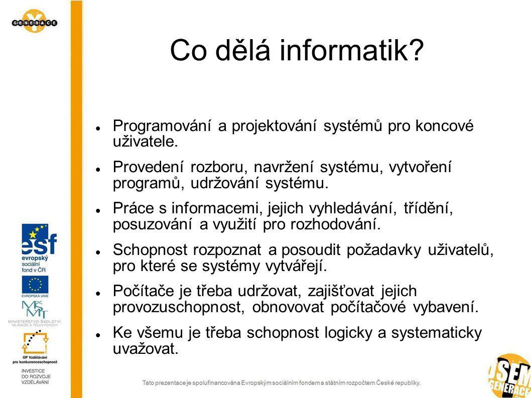 Informační technologie – středoškolské vzdělání Operátor výpočetní techniky Programátor Správce aplikací Technik IT