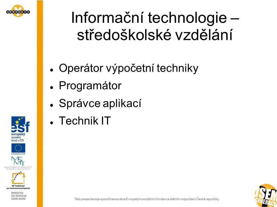 Operátor výpočetní techniky Vkládá data a datové soubory do počítačových aplikací.