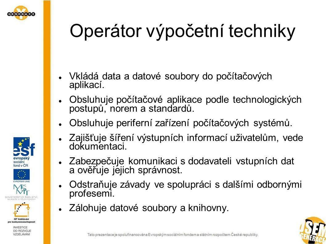 Programátor Vytváří analytickou dokumentaci jednodušších aplikací.