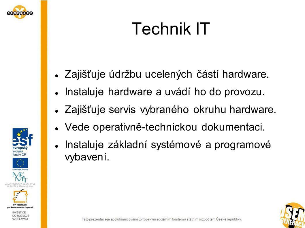 Informační technologie – bakalářské vzdělání Samostatný programátor Samostatný správce aplikací Samostatný technik IT Správce operačních systémů a sítí Webdesigner