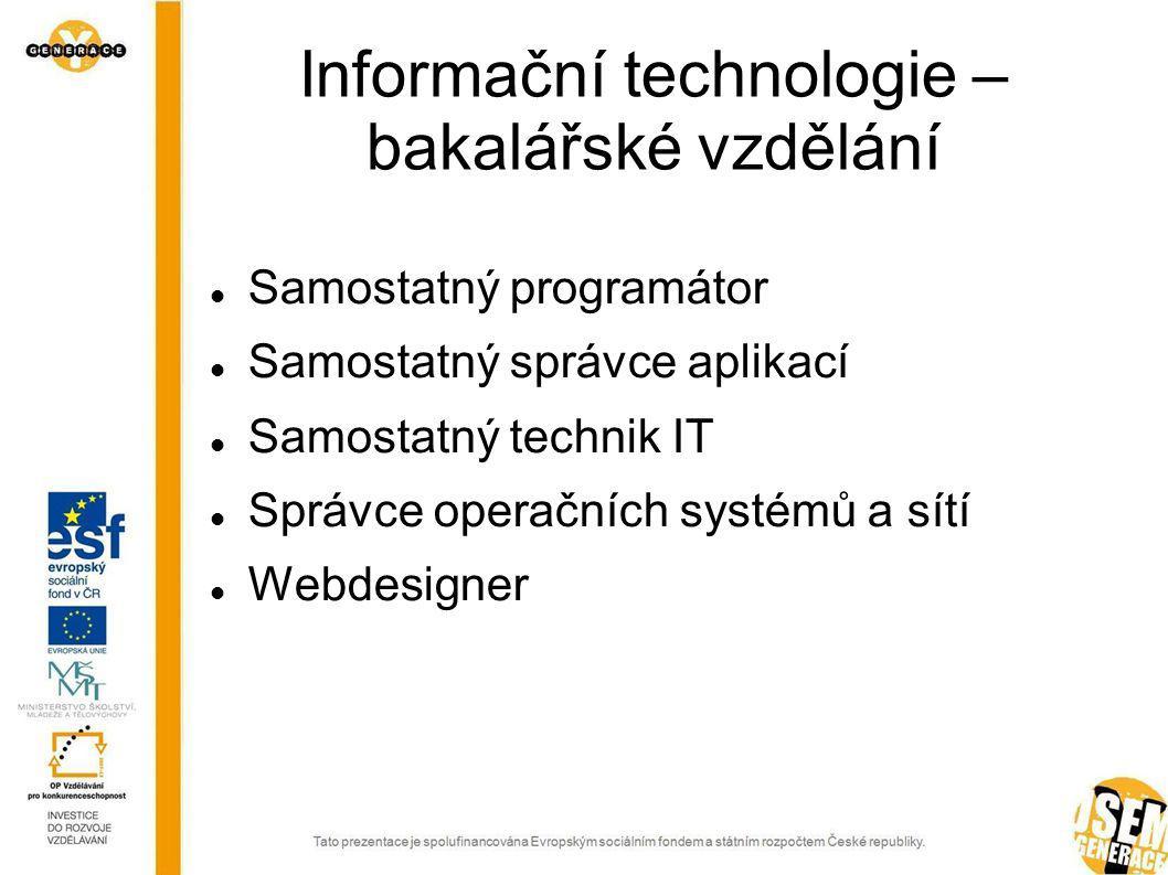 Samostatný programátor Vytváří analytickou dokumentaci jednodušších aplikací nebo dílčích aplikačních celků.