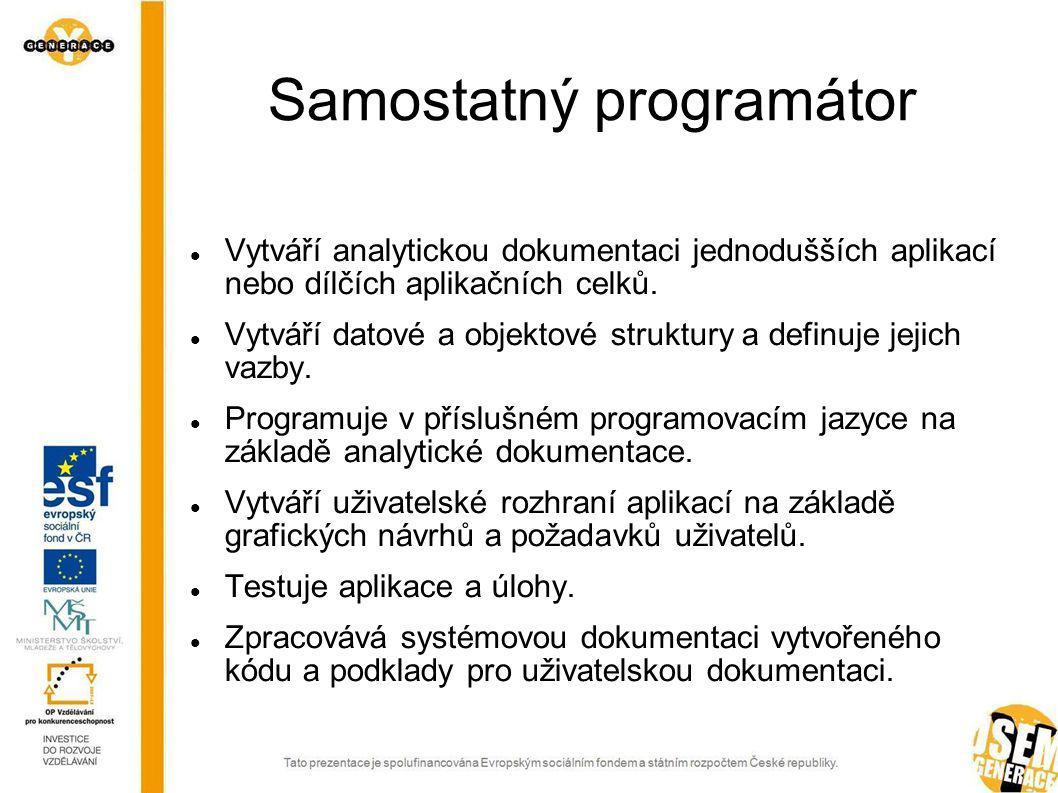 Samostatný správce aplikací Zajišťuje správu jednotlivých počítačových aplikací.