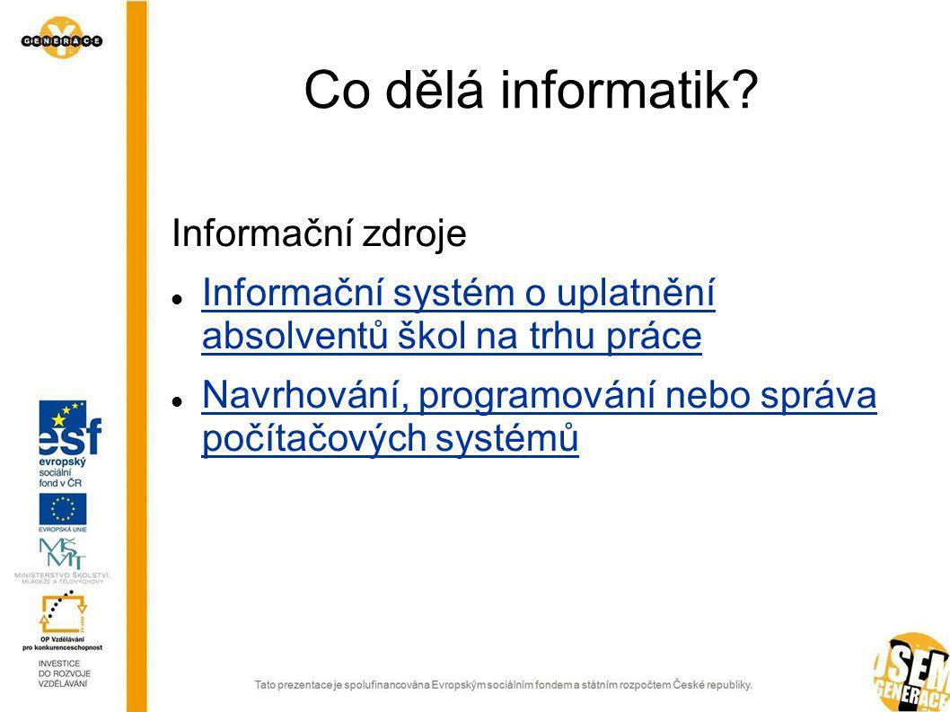 Co dělá informatik.