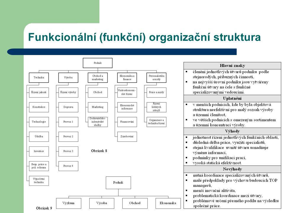Funkcionální (funkční) organizační struktura Obrázek 8 Obrázek 9