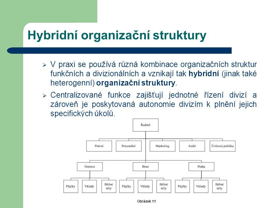 Hybridní organizační struktury  V praxi se používá různá kombinace organizačních struktur funkčních a divizionálních a vznikají tak hybridní (jinak t