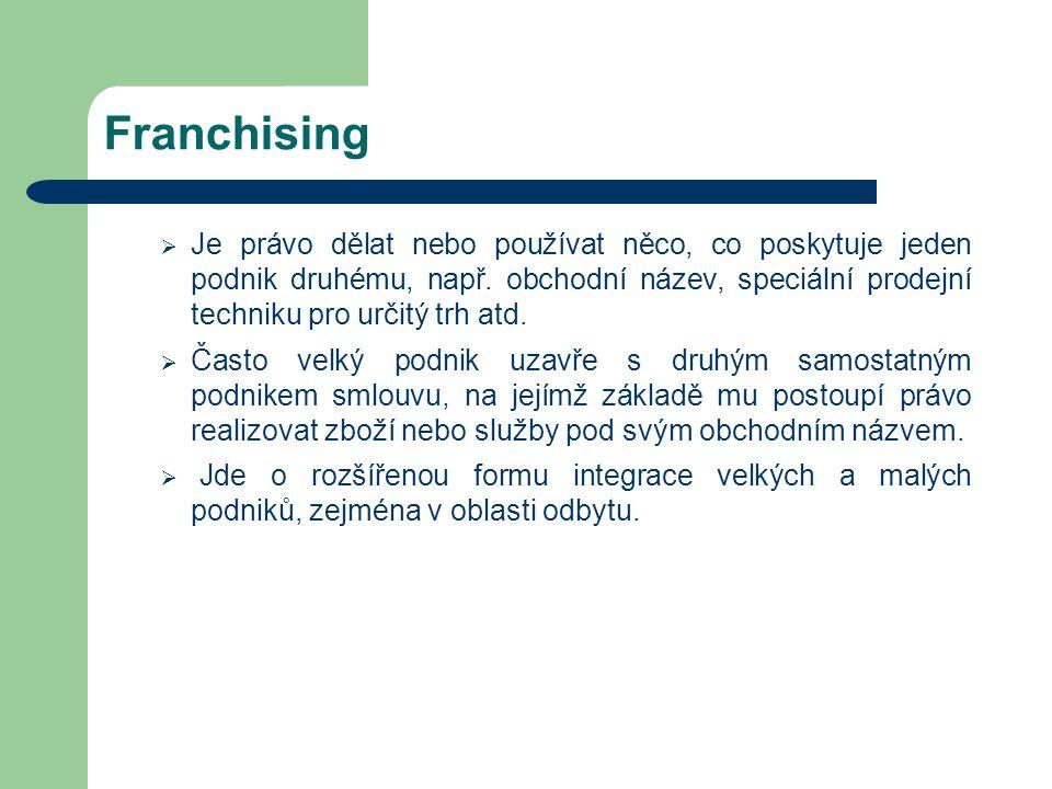 Franchising  Je právo dělat nebo používat něco, co poskytuje jeden podnik druhému, např. obchodní název, speciální prodejní techniku pro určitý trh a