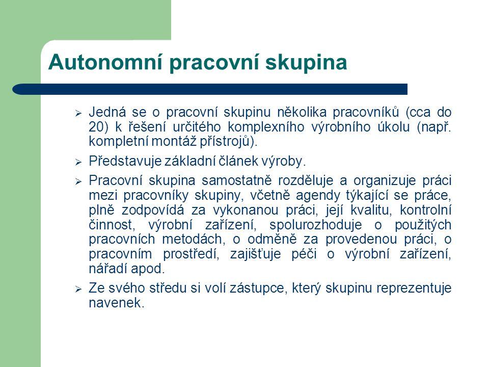 Autonomní pracovní skupina  Jedná se o pracovní skupinu několika pracovníků (cca do 20) k řešení určitého komplexního výrobního úkolu (např. kompletn