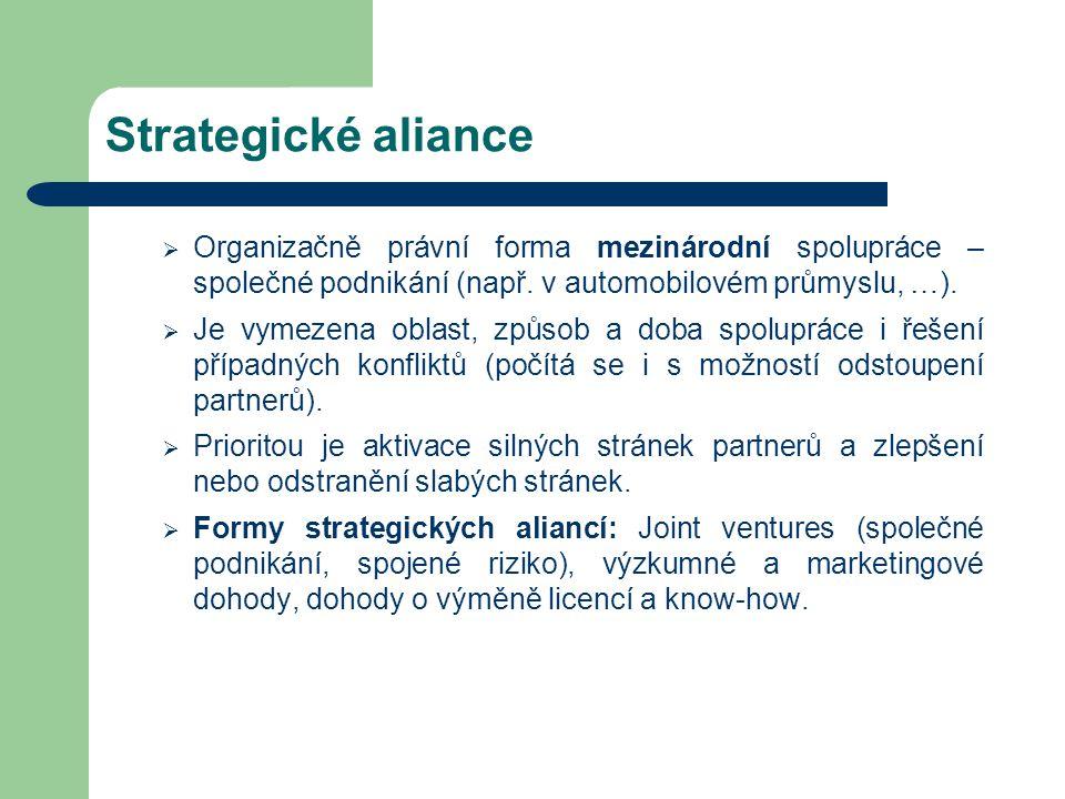 Strategické aliance  Organizačně právní forma mezinárodní spolupráce – společné podnikání (např. v automobilovém průmyslu, …).  Je vymezena oblast,