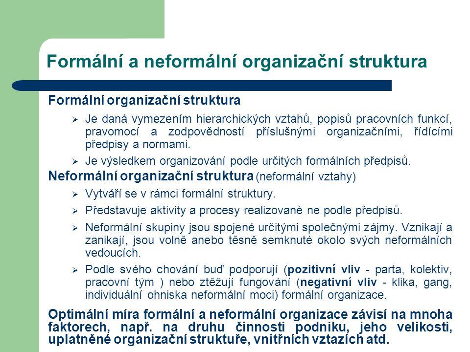 Formální a neformální organizační struktura Formální organizační struktura  Je daná vymezením hierarchických vztahů, popisů pracovních funkcí, pravom