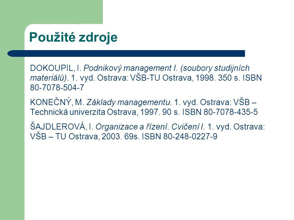 Použité zdroje DOKOUPIL, I. Podnikový management I. (soubory studijních materiálů). 1. vyd. Ostrava: VŠB-TU Ostrava, 1998. 350 s. ISBN 80-7078-504-7 K