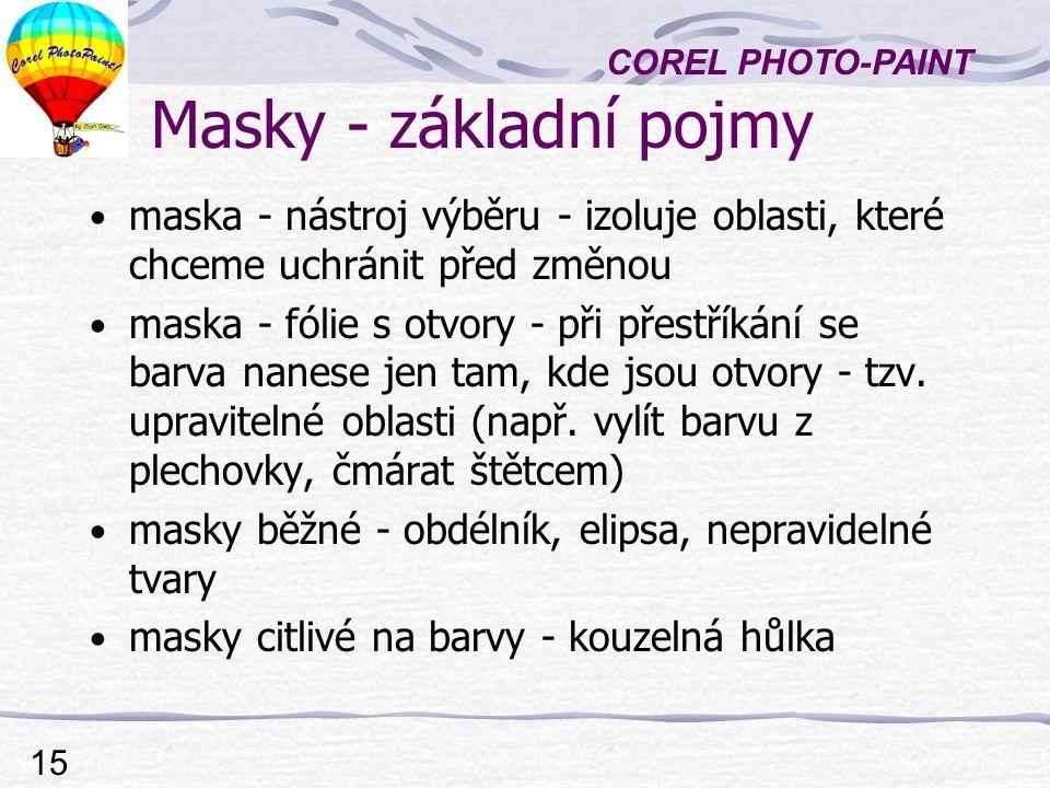 COREL PHOTO-PAINT 15 Masky - základní pojmy maska - nástroj výběru - izoluje oblasti, které chceme uchránit před změnou maska - fólie s otvory - při přestříkání se barva nanese jen tam, kde jsou otvory - tzv.