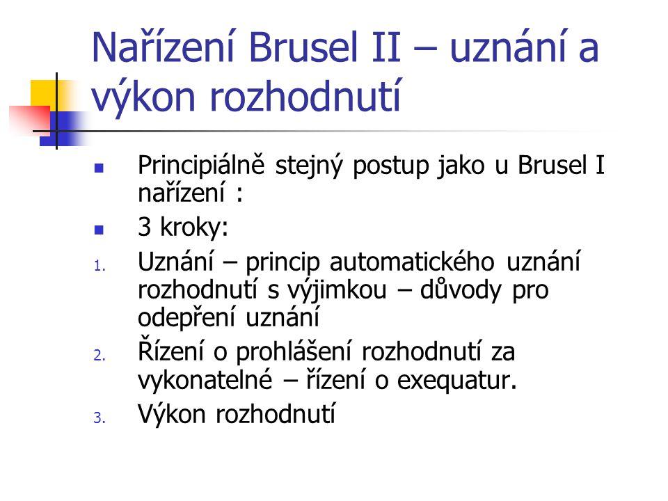 Nařízení Brusel II – uznání a výkon rozhodnutí Principiálně stejný postup jako u Brusel I nařízení : 3 kroky: 1. Uznání – princip automatického uznání