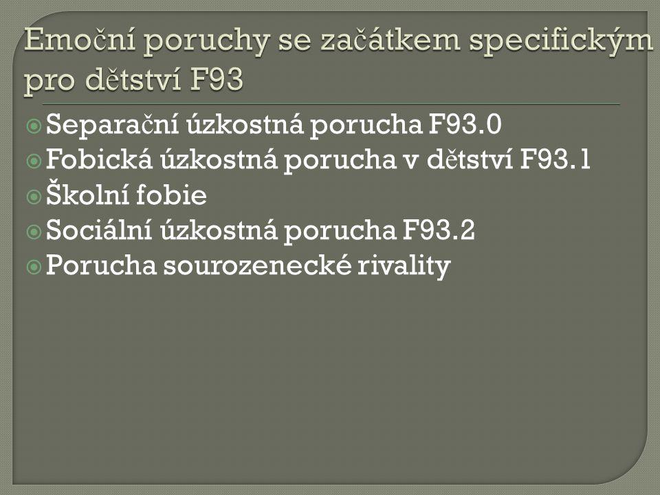  Separa č ní úzkostná porucha F93.0  Fobická úzkostná porucha v d ě tství F93.1  Školní fobie  Sociální úzkostná porucha F93.2  Porucha sourozene