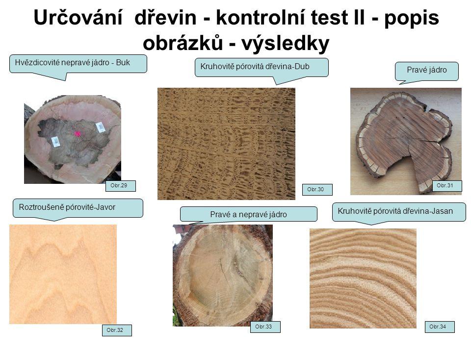 Určování dřevin - kontrolní test II - popis obrázků - výsledky Hvězdicovité nepravé jádro - Buk Kruhovitě pórovitá dřevina-Dub Pravé jádro Roztroušeně