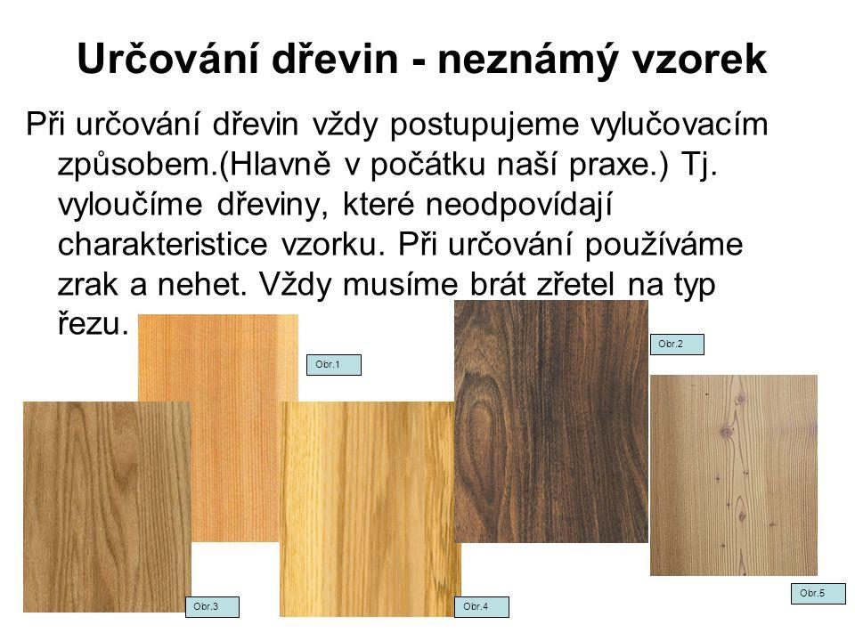 Určování dřevin - neznámý vzorek Při určování dřevin vždy postupujeme vylučovacím způsobem.(Hlavně v počátku naší praxe.) Tj. vyloučíme dřeviny, které