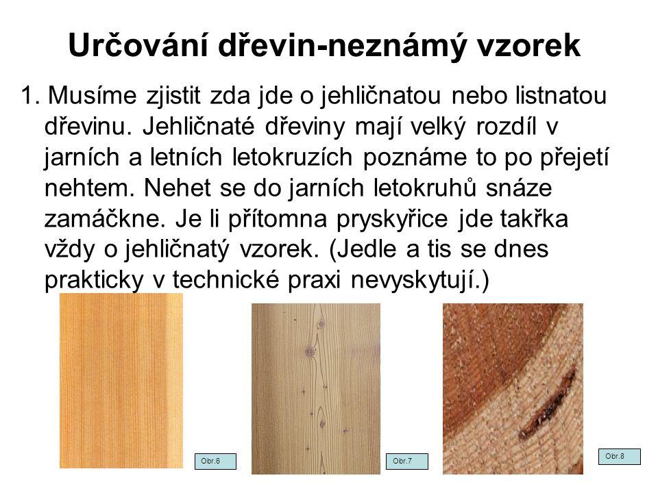 Určování dřevin-neznámý vzorek 1. Musíme zjistit zda jde o jehličnatou nebo listnatou dřevinu. Jehličnaté dřeviny mají velký rozdíl v jarních a letníc