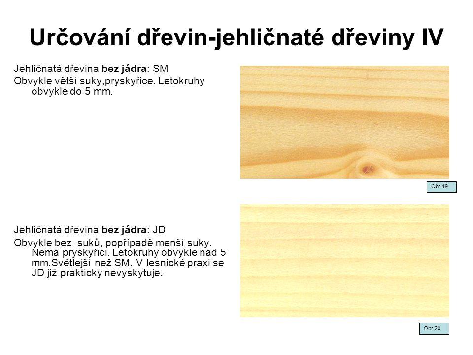 Určování dřevin-jehličnaté dřeviny IV Jehličnatá dřevina bez jádra: SM Obvykle větší suky,pryskyřice. Letokruhy obvykle do 5 mm. Jehličnatá dřevina be