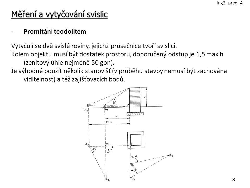 Měření a vytyčování svislic -Promítání teodolitem Vytyčují se dvě svislé roviny, jejichž průsečnice tvoří svislici.