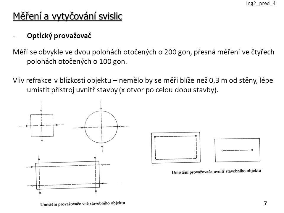 Měření a vytyčování svislic -Optický provažovač Měří se obvykle ve dvou polohách otočených o 200 gon, přesná měření ve čtyřech polohách otočených o 100 gon.