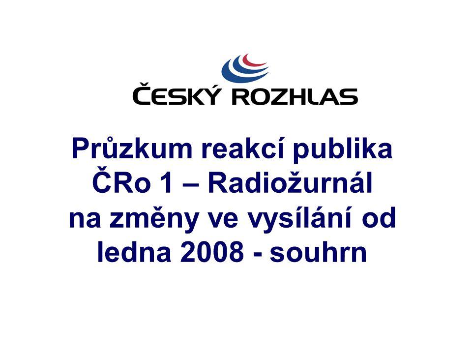 Průzkum reakcí publika ČRo 1 – Radiožurnál na změny ve vysílání od ledna 2008 - souhrn