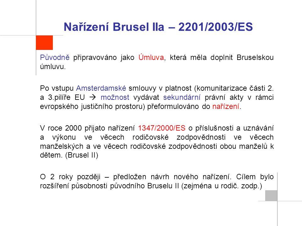 Nařízení Brusel IIa – 2201/2003/ES Původně připravováno jako Úmluva, která měla doplnit Bruselskou úmluvu. Po vstupu Amsterdamské smlouvy v platnost (