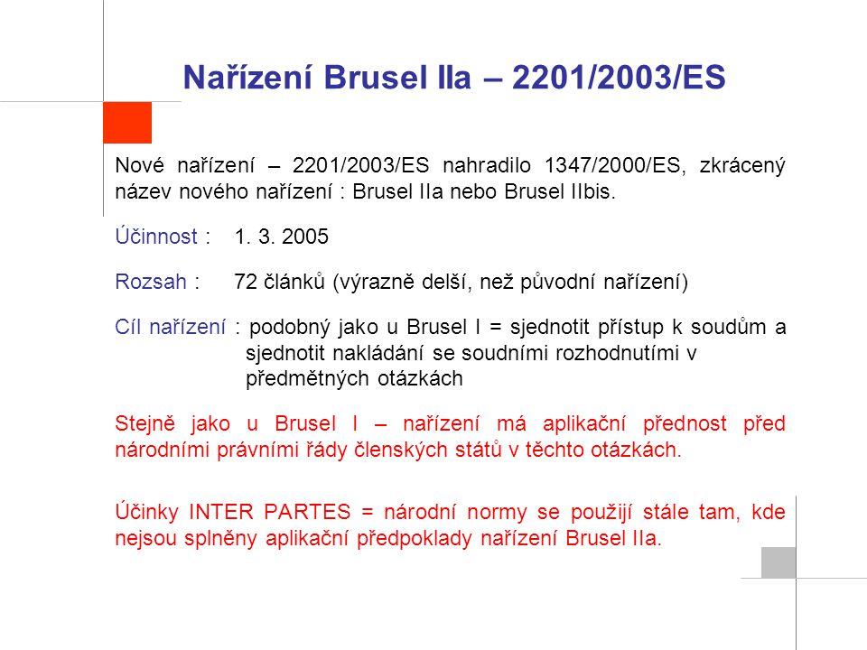 Nařízení Brusel IIa – 2201/2003/ES Nové nařízení – 2201/2003/ES nahradilo 1347/2000/ES, zkrácený název nového nařízení : Brusel IIa nebo Brusel IIbis.