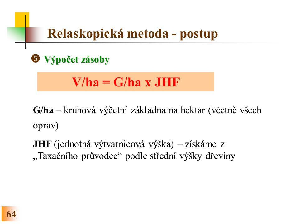 """64 Relaskopická metoda - postup Výpočet zásoby  Výpočet zásoby V/ha = G/ha x JHF G/ha – kruhová výčetní základna na hektar (včetně všech oprav) JHF (jednotná výtvarnicová výška) – získáme z """"Taxačního průvodce podle střední výšky dřeviny"""
