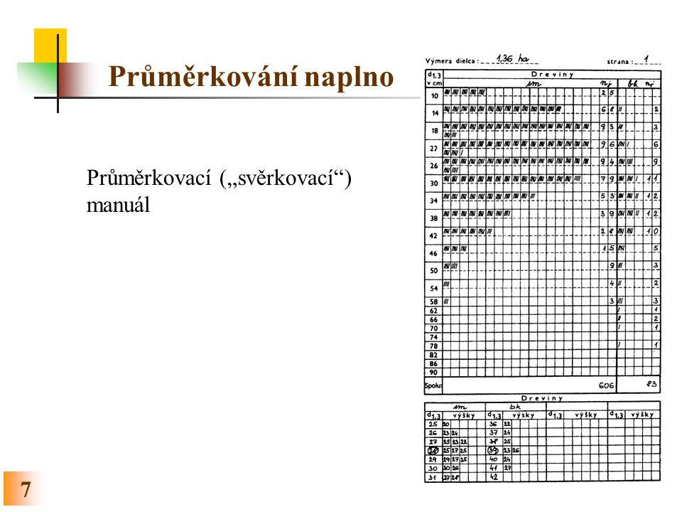 38 Metoda objemových tabulek vyrovnané výšky výčetní tloušťka objem 1 stromu