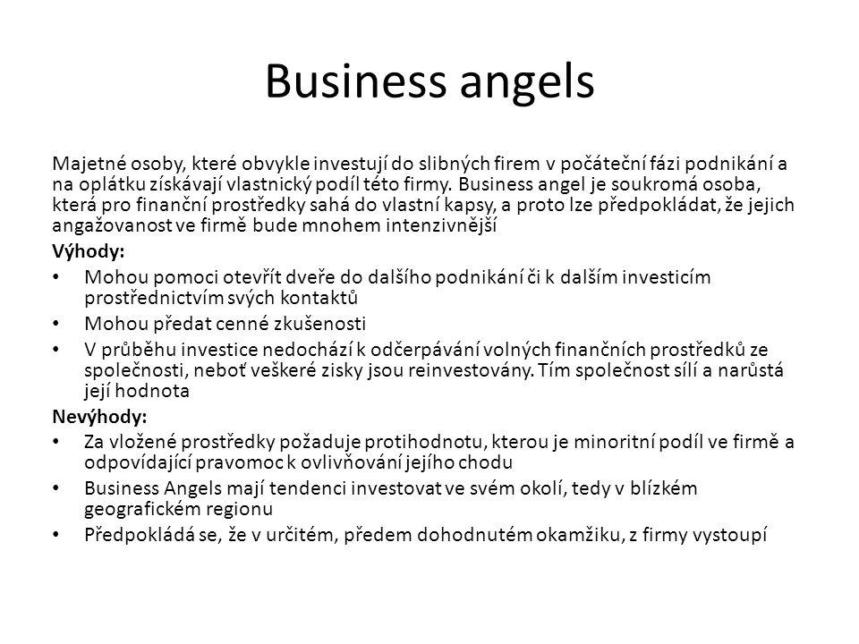 Business angels Majetné osoby, které obvykle investují do slibných firem v počáteční fázi podnikání a na oplátku získávají vlastnický podíl této firmy