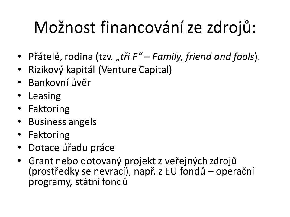 """Možnost financování ze zdrojů: Přátelé, rodina (tzv. """"tři F"""" – Family, friend and fools). Rizikový kapitál (Venture Capital) Bankovní úvěr Leasing Fak"""