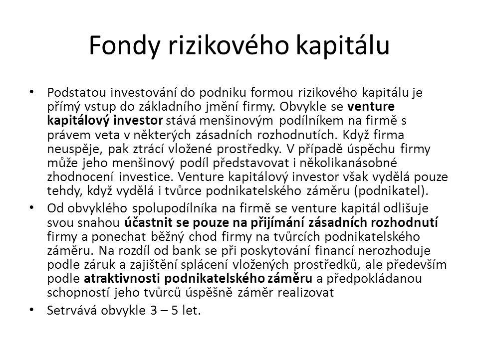 Fondy rizikového kapitálu Podstatou investování do podniku formou rizikového kapitálu je přímý vstup do základního jmění firmy. Obvykle se venture kap