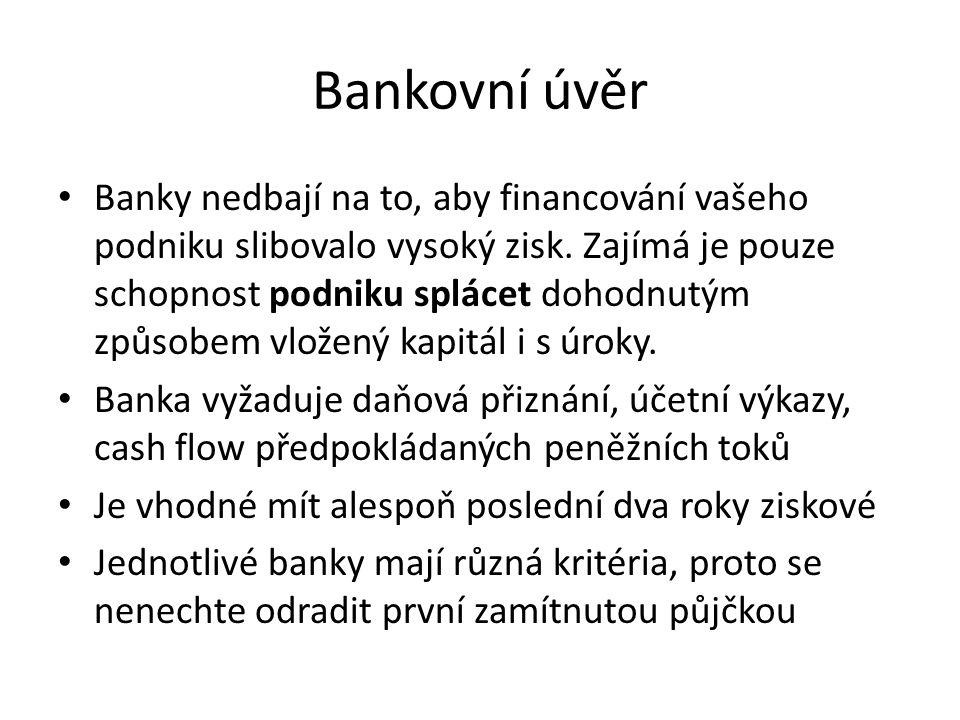 Bankovní úvěr Banky nedbají na to, aby financování vašeho podniku slibovalo vysoký zisk. Zajímá je pouze schopnost podniku splácet dohodnutým způsobem