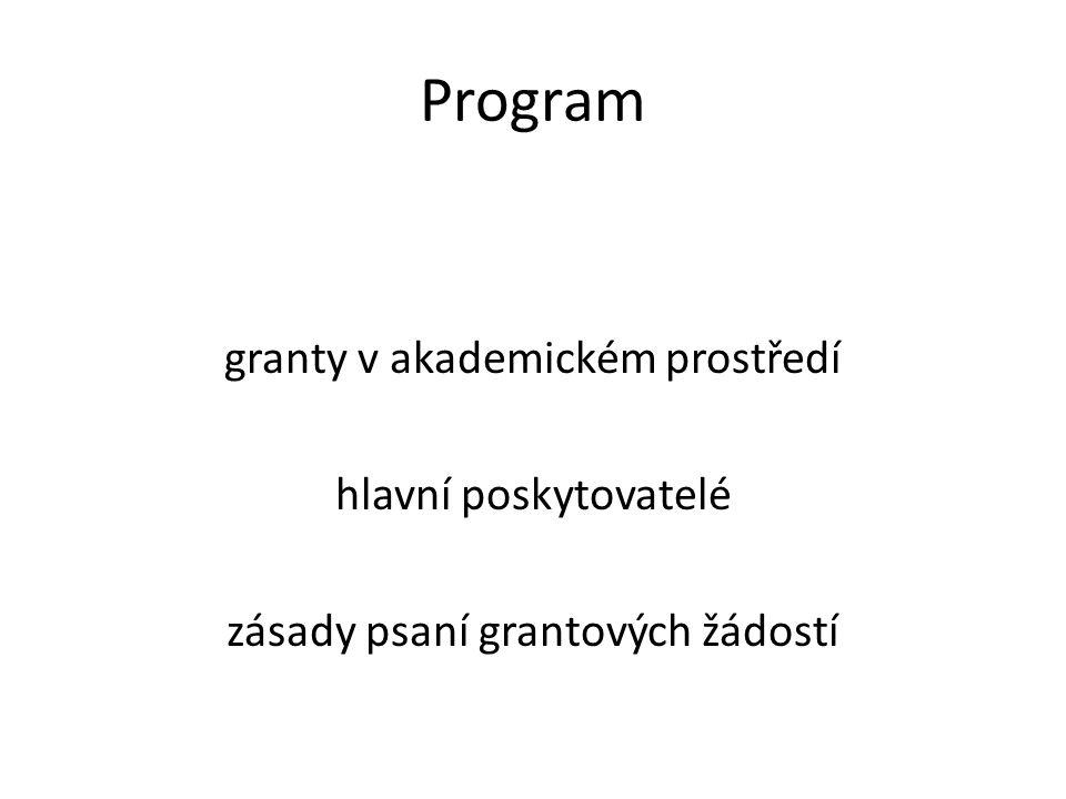 Granty v akademickém prostředí Vypsána výzva s termínem podávání žádostí Podání žádosti Posouzení formálních parametrů Posouzení obsahu žádosti (obvykle několik oponentů) Rozhodnutí o přidělení grantu Průběh projektu (u delších projektů obvykle nutné pravidelně předkládat průběžné zprávy a dílčí výstupy) Předložení závěrečné zprávy a výstupů projektu poskytovateli Oponentní řízení