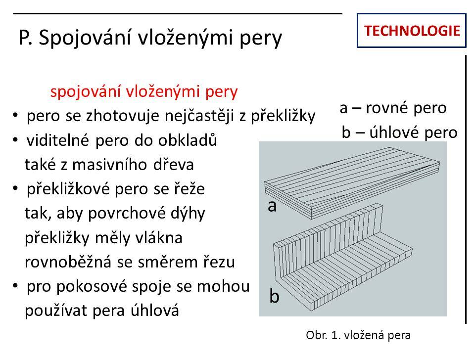TECHNOLOGIE P. Spojování vloženými pery spojování vloženými pery pero se zhotovuje nejčastěji z překližky viditelné pero do obkladů také z masivního d