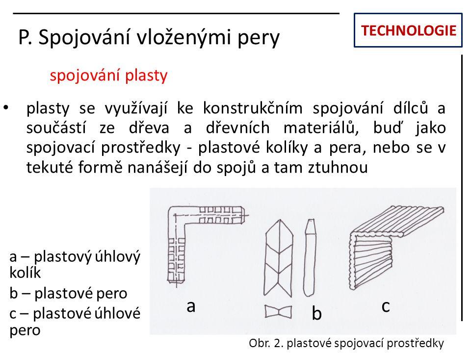 TECHNOLOGIE P. Spojování vloženými pery spojování plasty plasty se využívají ke konstrukčním spojování dílců a součástí ze dřeva a dřevních materiálů,