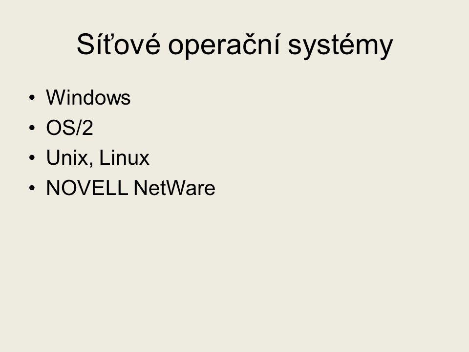 Síťové operační systémy Windows OS/2 Unix, Linux NOVELL NetWare