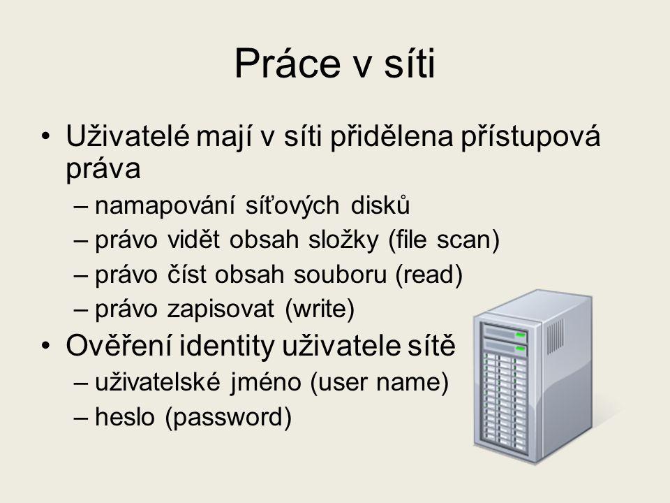 Práce v síti Uživatelé mají v síti přidělena přístupová práva –namapování síťových disků –právo vidět obsah složky (file scan) –právo číst obsah soubo