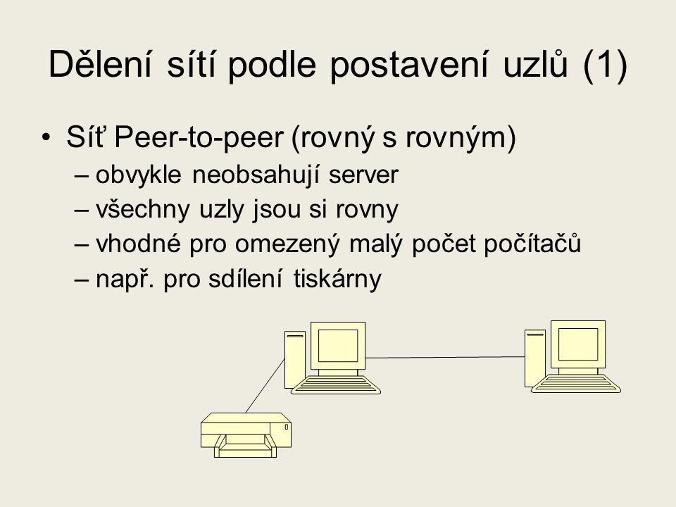 Dělení sítí podle postavení uzlů (1) Síť Peer-to-peer (rovný s rovným) –obvykle neobsahují server –všechny uzly jsou si rovny –vhodné pro omezený malý