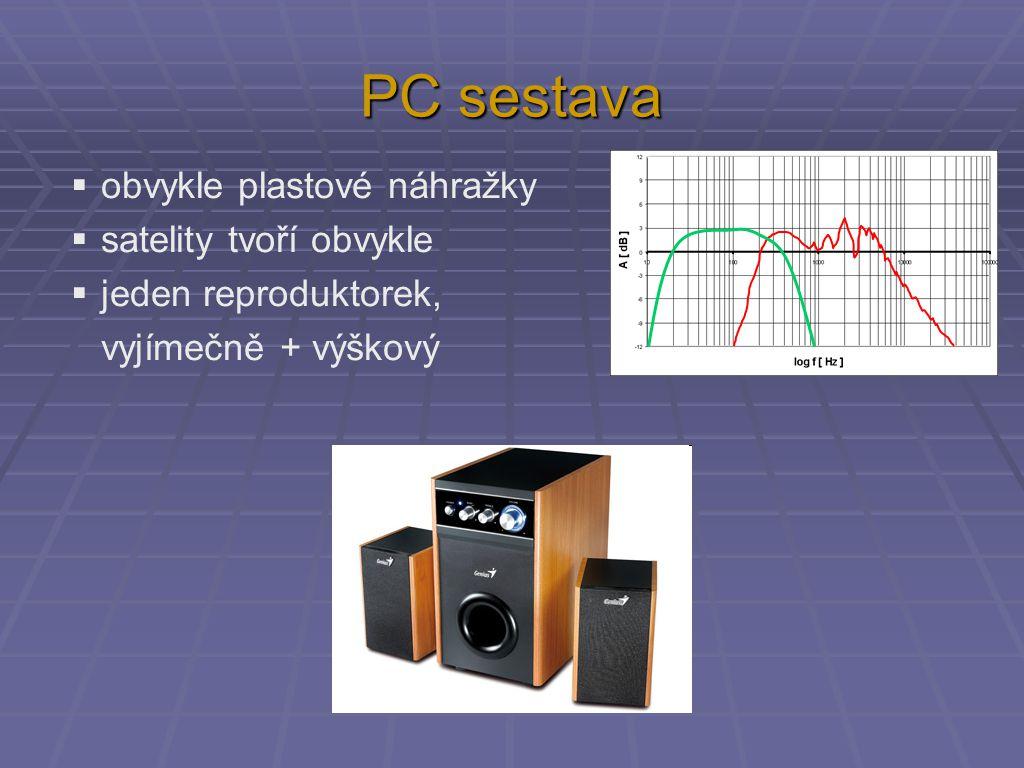 PC sestava  obvykle plastové náhražky  satelity tvoří obvykle  jeden reproduktorek, vyjímečně + výškový