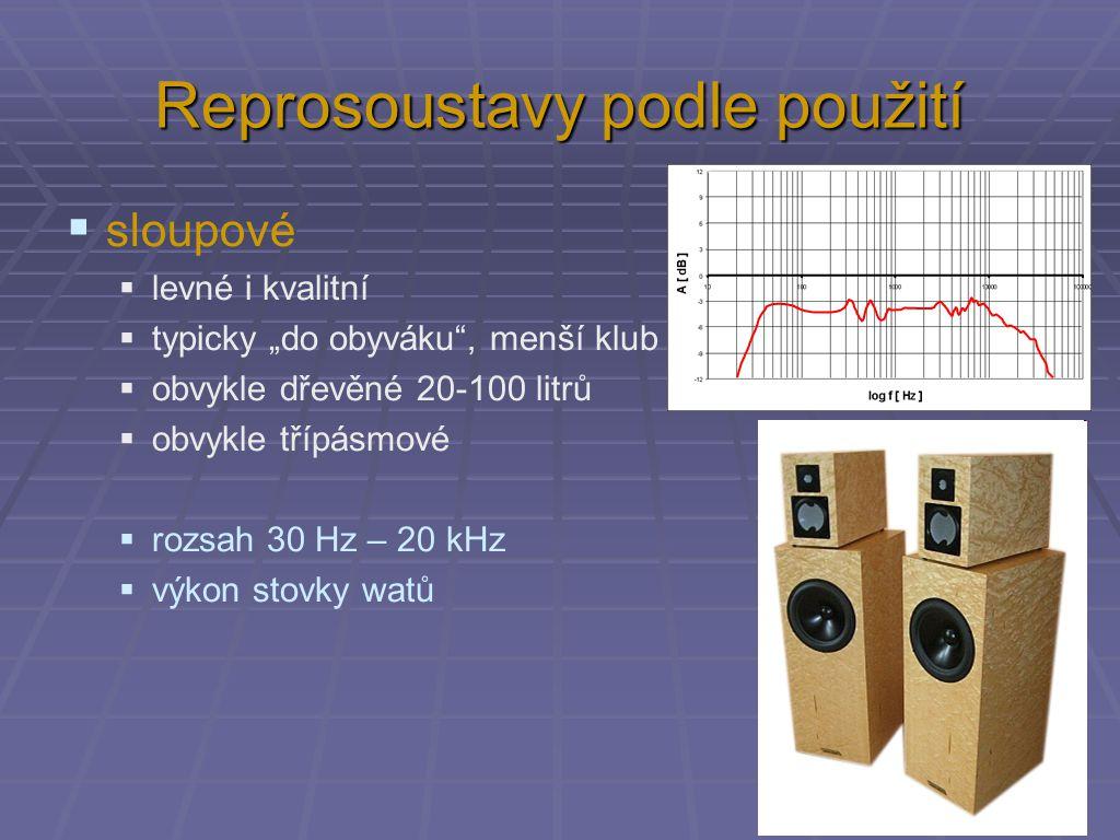 """Reprosoustavy podle použití  sloupové  levné i kvalitní  typicky """"do obyváku , menší klub  obvykle dřevěné 20-100 litrů  obvykle třípásmové  rozsah 30 Hz – 20 kHz  výkon stovky watů"""